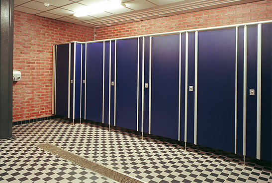 Space toilet cubicles at Löfbergs arena in Karlstad